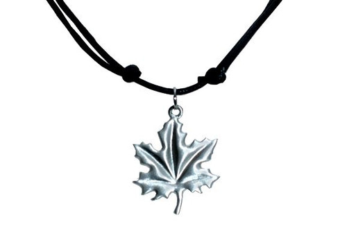 Pewter Maple Leaf Necklace, cord