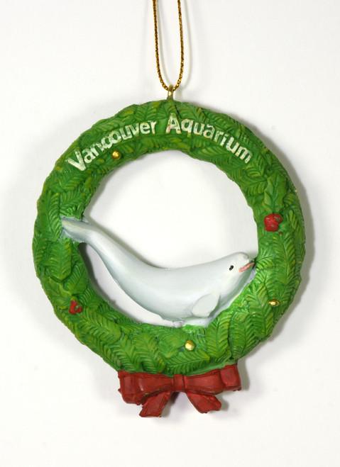 Beluga in Wreath Ornament - large
