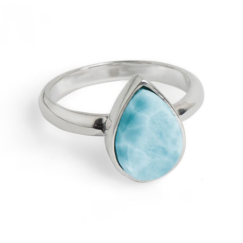 Falling Water Tear Drop Larimar Ring