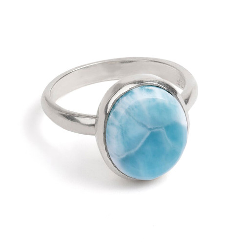 Falling Water Oval Larimar Ring