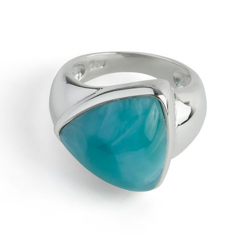 Triangle Reflection Larimar Ring