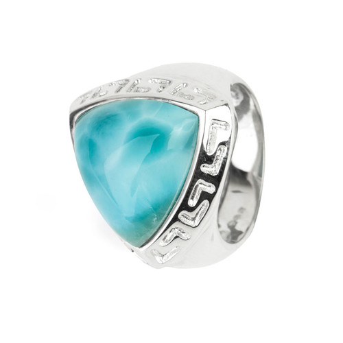 Triangle Larimar Ring