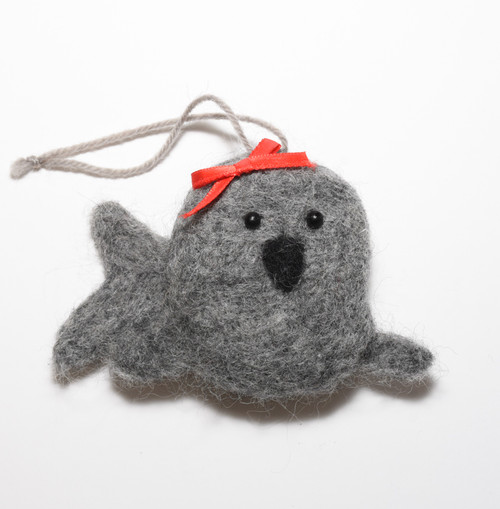 Wool Felted Seal Ornament 6.5cm