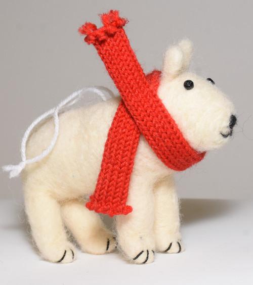 Wool Felted Polar Bear Ornament 11cm