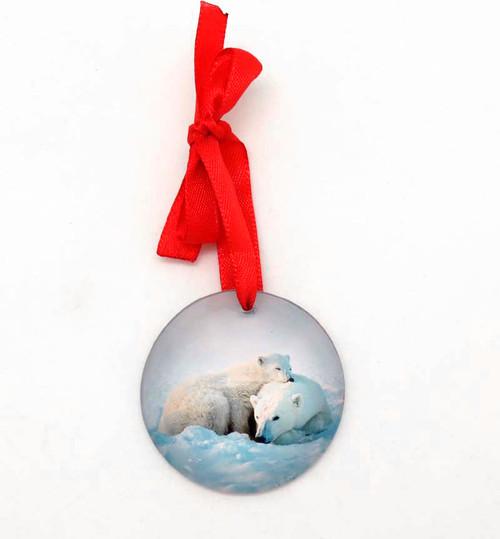 Glass Polar Bears Ornament