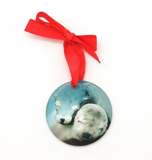 Glass Sea Lions Ornament