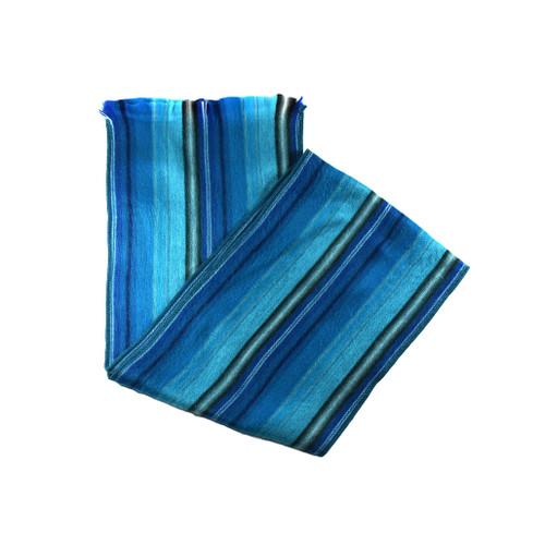 Striped Alpaca scarf, blue
