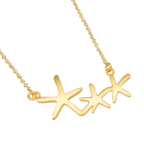 Sea Stars Necklace Gold Plated
