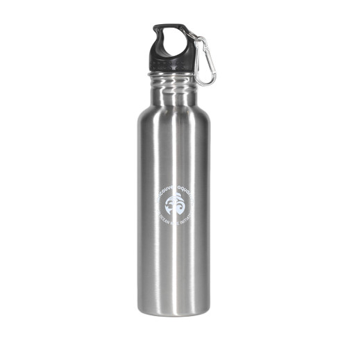 Silver metal water bottle with screw top