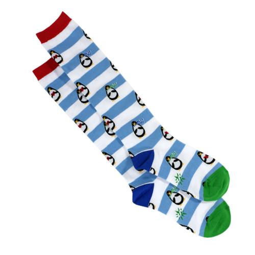 Striped penguin socks, women's