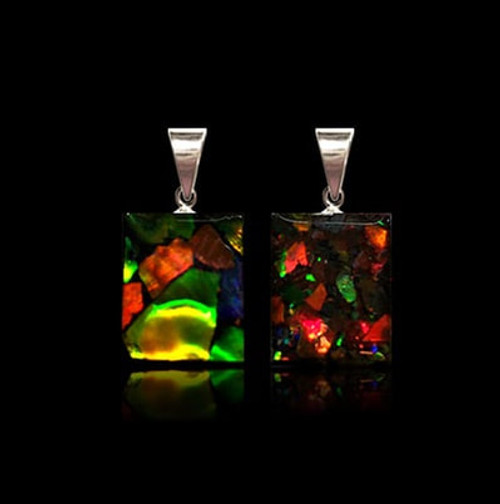 Square Ammolite Pendant - Double sided