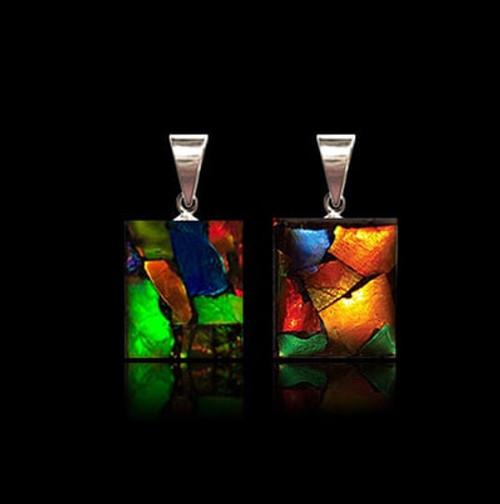 Square Ammolite Pendant - Double sided Mosaic