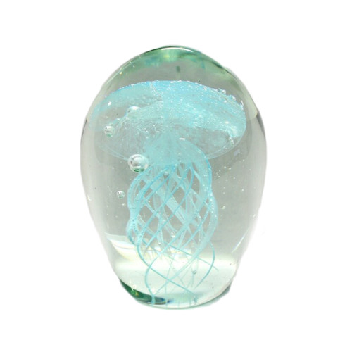 Glass Jelly Fish paper weight - aqua colour
