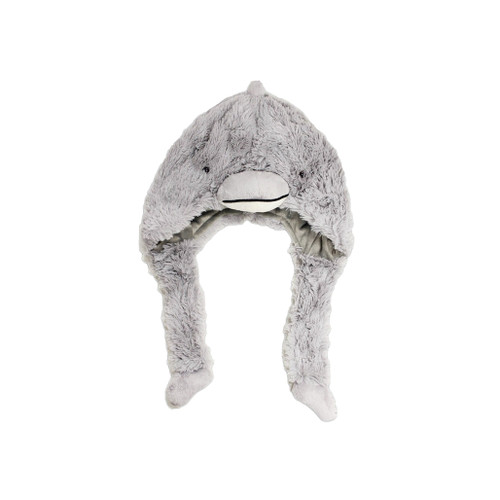 Fuzzy hat in the shape of a dolphin head