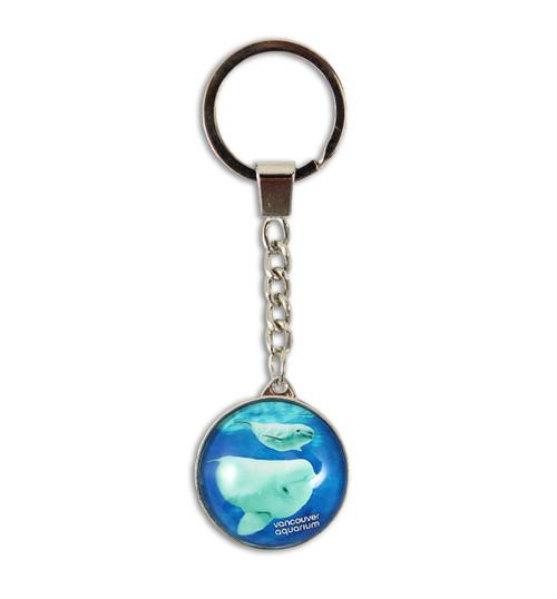 Round Glass Beluga Key Ring