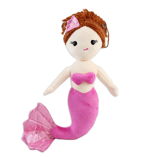 Mermaid stuffy, brunette with pink outfit