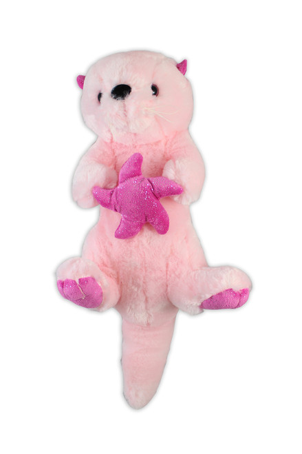 Sea Otter Stuffy, pink, holding a sea star