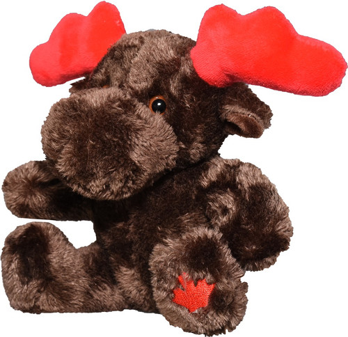 Moose Sitting with Canada Flag Stuffy 6""