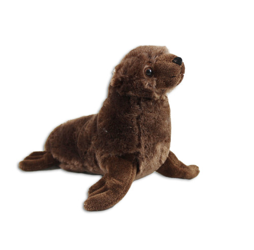 Brown furry sea lion stuffy.