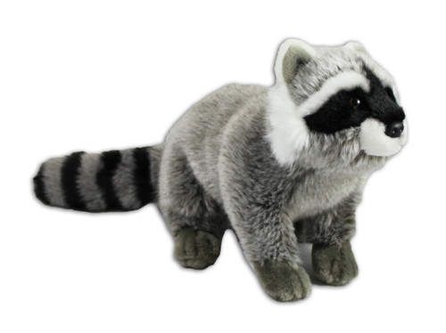 Cute, grey and black raccoon stuffy.