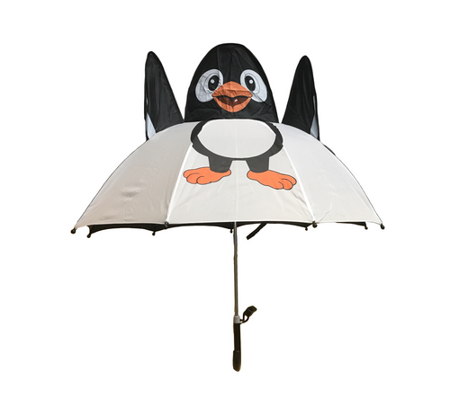 Cute 3D designed penguin umbrella in white and navy.