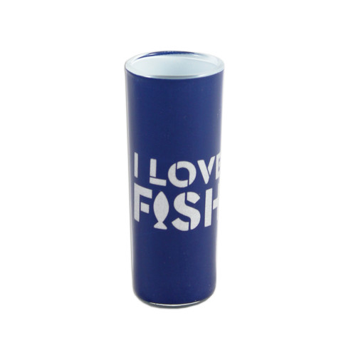 """Navy blue shooter glass with """"I Love Fish"""" design."""