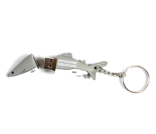 Uniquely designed USB with a shark design and can be a decorative key ring.