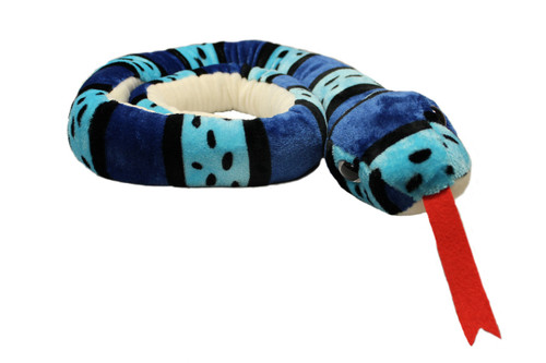 Blue striped snake stuffy coiled with red tongue sticking out.