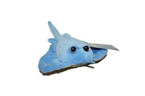 Small blue ray stuffy with cute button eyes with lighter blue patterns on top and a plain white bottom.