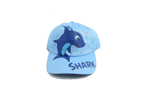 Cute blue youth baseball cap with cartoon embroidery of a shark and bubbles in the background.