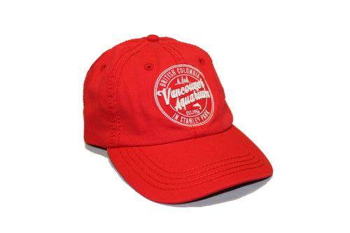 Classic red baseball cap with white embroidered stitching of a salmon crest.