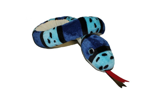 Blue striped snake stuffy coiled.