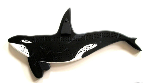 Orca cribbage board with pegs