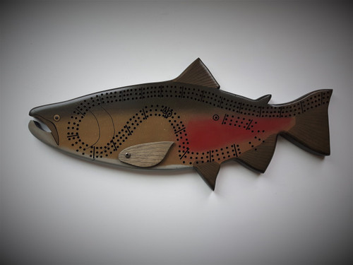 Spawning Chinook Salmon Cribbage Board