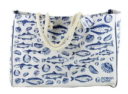 Ocean Wise pattern on tote bag with rope handles