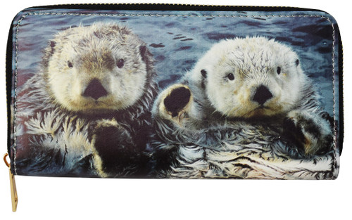 Zippered wallet with picture of two sea otters