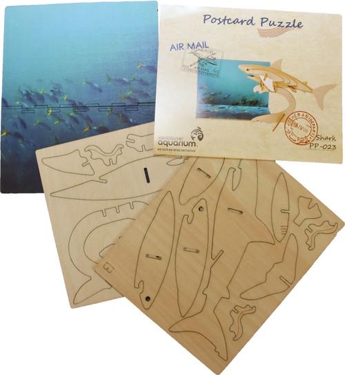 3D wood postcard puzzle shark