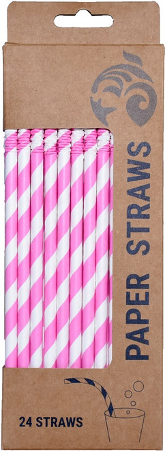 paper straw pink striped