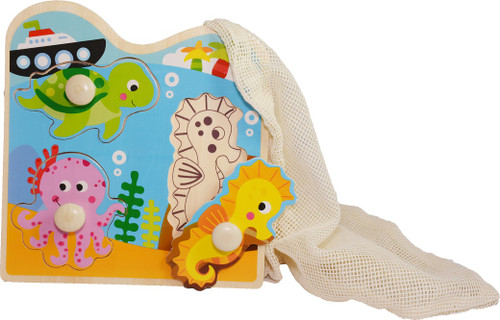 wooden marine puzzle with reusable cotton mesh bag