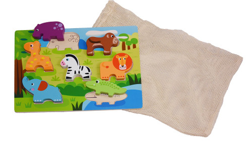 wooden animal puzzle with reusable cotton mesh bag