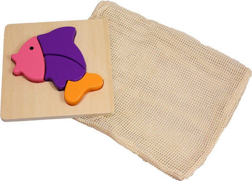 wooden fish puzzle with reusable cotton mesh bag