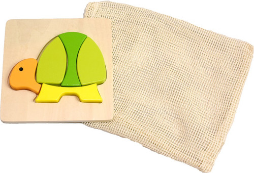 wooden Turtle puzzle with reusable cotton mesh bag