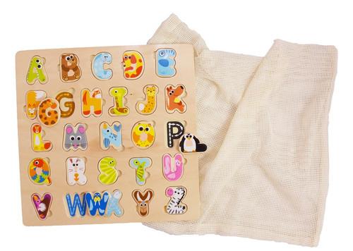 wooden alphabet puzzle with reusable cotton mesh bag