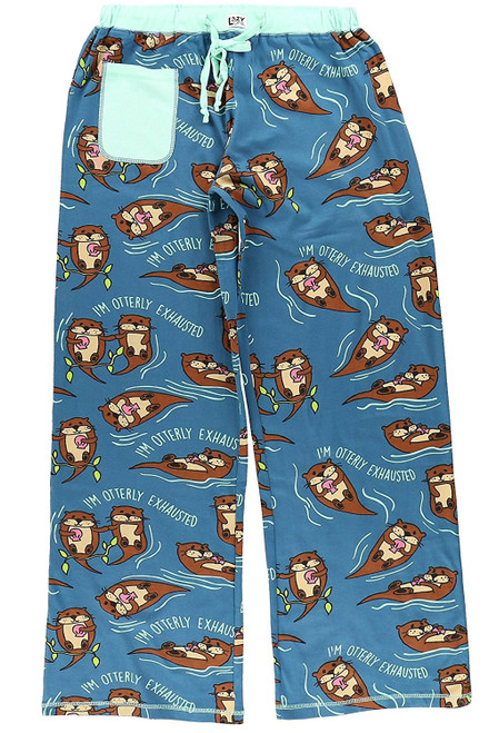 "Aren't otters the cutest! Our women's PJ's will make sure that your shut eye is comfortable, cozy and brings you ultimate relaxation! Our fitted, women's PJ Yoga pants, are straight-legged and fitted through hips and thighs with no pocket or fly. Drawstring waist keeps pants put! This blue, otter themed yoga pant, features 100% cotton fabrication and ""Otterly Exhausted"" written throughout."