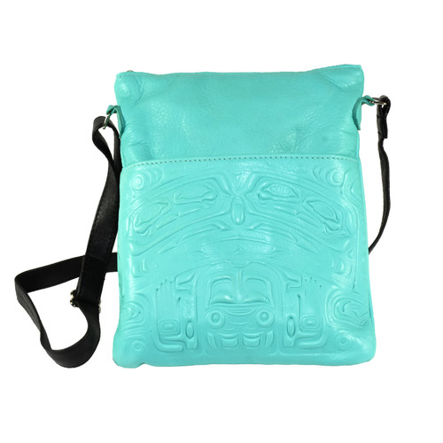 Embossed Leather Bear Box Solo Bag - Aqua