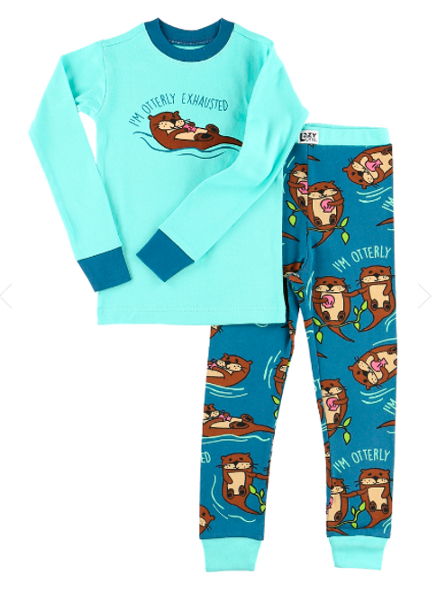 Wildlife meets nightlife in the Otterly Exhausted kid pajama set. With a totally cute design, these jammies are made from soft 100% combed cotton rib and have a snug, flexible fit.