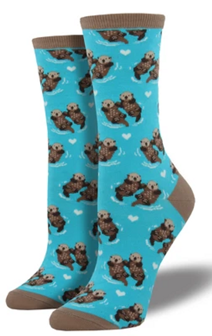Who is your significant other?... or significant otter? Featuring adorable otter couples happily holding hands and floating across the sea, these socks are all about love.
