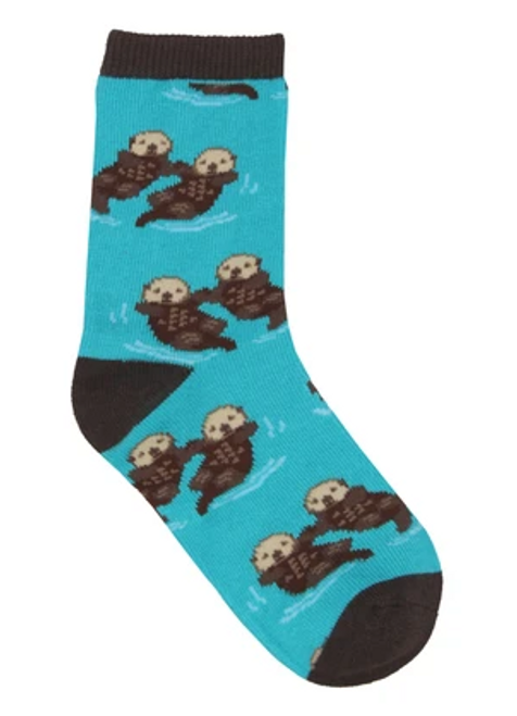 "Put a smile on that shorty's face with these fun animal socks. Otter couples holding hands, as they drift along the water; what says ""love"" better than that?"