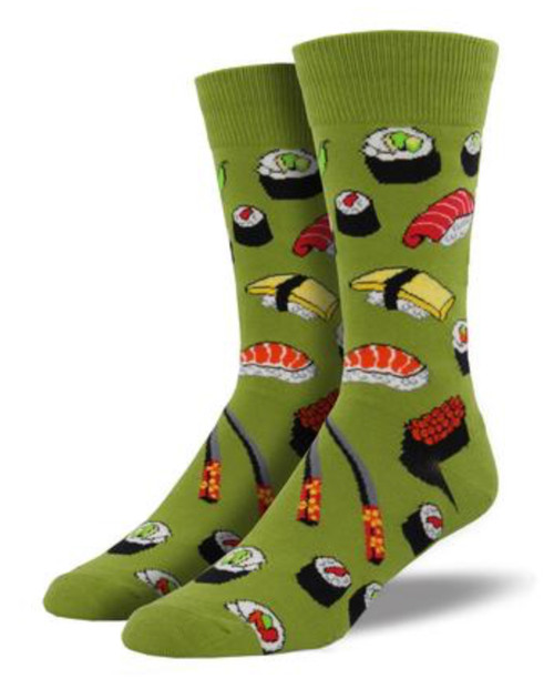 Do you love sushi as much as we do? Then these socks are for you! Featuring chopsticks and a variety of sushi rolls, wear these on your next sushi excursion and your outfit will definitely be on a roll.