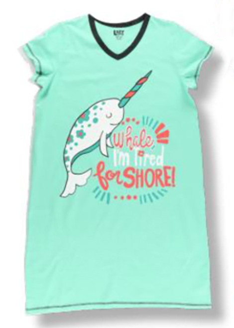 """""""Whale, I'm Tired for Shore!"""" Narwhal Nightshirt"""